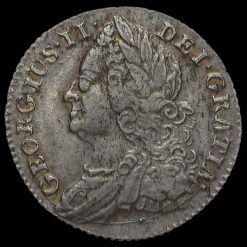 1745 George II Early Milled Silver Sixpence Obverse