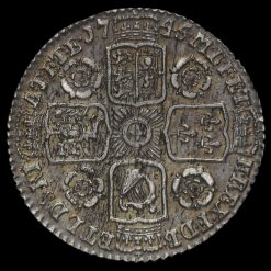 1745 George II Early Milled Silver Sixpence Reverse