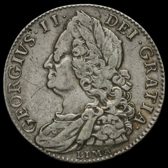 1746 George II Early Milled Silver Lima Half Crown Obverse