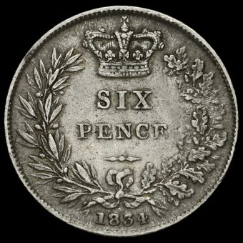 1834 William IV Milled Silver Sixpence Reverse