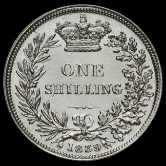 1839 Queen Victoria Young Head Silver Shilling Reverse