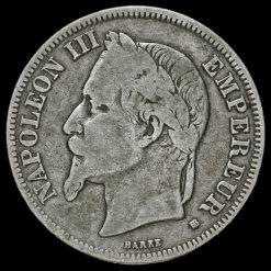 1868 France Napoleon III 2 Francs Obverse