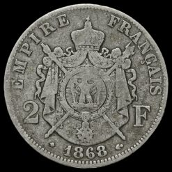 1868 France Napoleon III 2 Francs Reverse