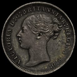 1869 Queen Victoria Young Head Silver Threepence Obverse