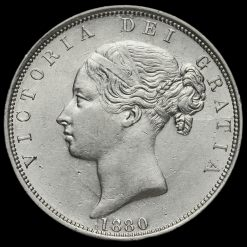 1880 Queen Victoria Young Head Silver Half Crown Obverse