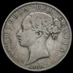 1886 Queen Victoria Young Head Silver Half Crown Obverse