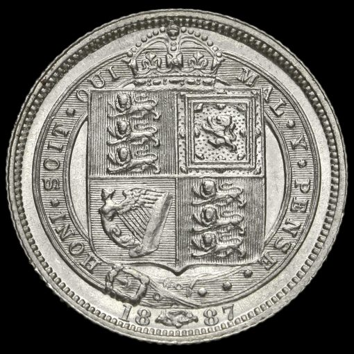 1887 Victoria Jubilee Head Silver Sixpence J.E.B on Trunk Reverse