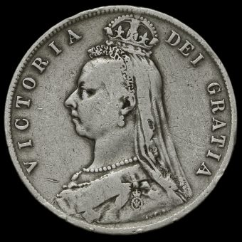 1892 Queen Victoria Jubilee Head Silver Half Crown Obverse