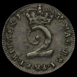 1737 George II Early Milled Silver Twopence Reverse