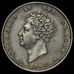 1826 George IV Bare Head Milled Silver Shilling Obverse