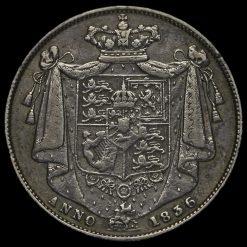 1836/5 William IV Milled Silver Half Crown Reverse