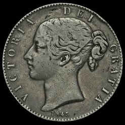 1845 Queen Victoria Young Head Silver Crown Obverse