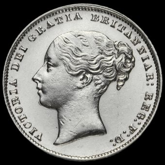 1866 Queen Victoria Young Head Silver Shilling Obverse