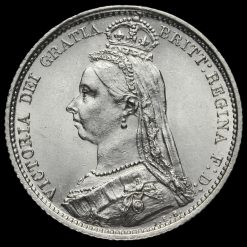 1887 Queen Victoria Jubilee Head Silver Sixpence, Withdrawn Type Obverse