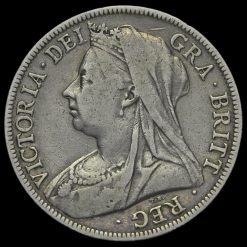 1897 Queen Victoria Veiled Head Silver Half Crown Obverse