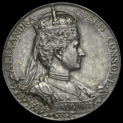 1902 Edward VII Coronation Official Silver Medal Reverse
