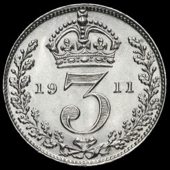 1911 George V Silver Threepence Reverse