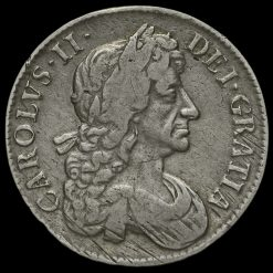 1682 Charles II Early Milled Silver Tricesimo Qvarto Crown Obverse