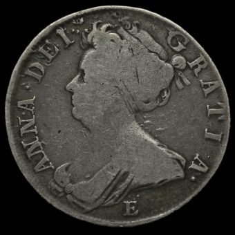 1708E Queen Anne Early Milled Silver Half Crown Obverse