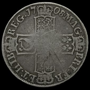 1708E Queen Anne Early Milled Silver Half Crown Reverse