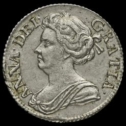 1711 Queen Anne Early Milled Silver Sixpence Obverse