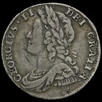 1732 George II Early Milled Silver Sixpence Obverse