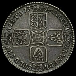 1745 George II Early Milled Silver Lima Shilling Reverse