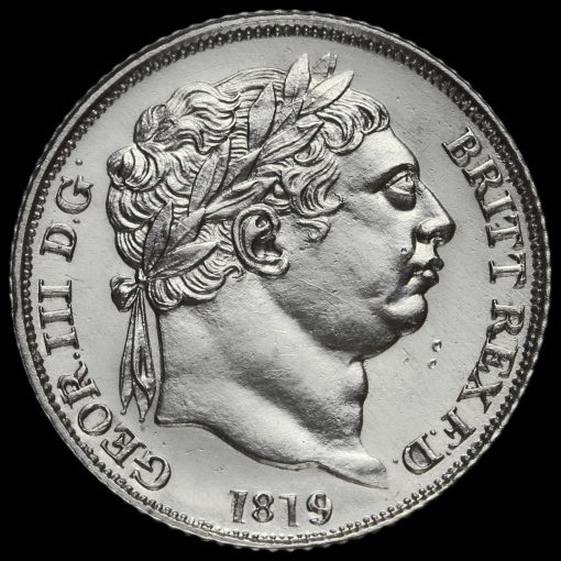 1819 George III Milled Silver Sixpence Obverse