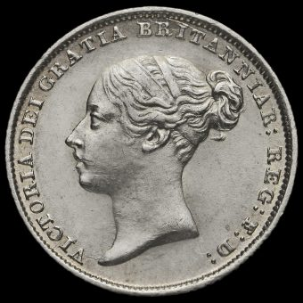 1844 Queen Victoria Young Head Silver Sixpence Obverse