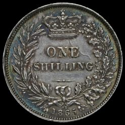 1865 Queen Victoria Young Head Silver Shilling Reverse