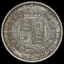 1887 Queen Victoria Jubilee Head Silver Half Crown, Reverse