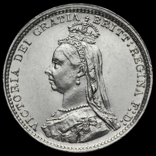 1887 Queen Victoria Jubilee Head Silver Threepence Obverse