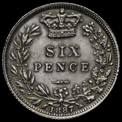 1887 Queen Victoria Young Head Silver Sixpence Reverse