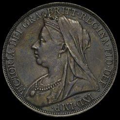 1894 Queen Victoria Veiled Head Silver LVII Crown Obverse