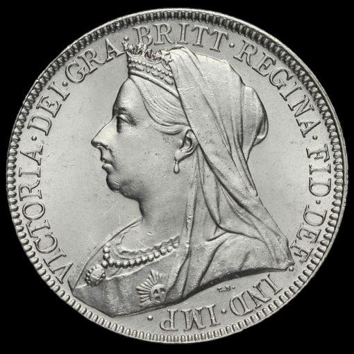 1899 Queen Victoria Veiled Head Silver Florin Obverse