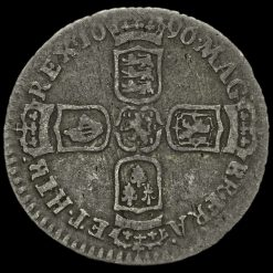 1696 William III Early Milled Silver Sixpence Reverse
