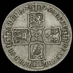 1746 George II Early Milled Silver Lima Half Crown Reverse