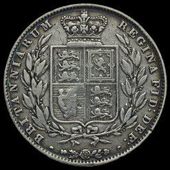 1844 Queen Victoria Young Head Silver Half Crown Reverse