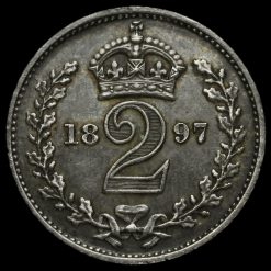 1897 Queen Victoria Veiled Head Silver Maundy Twopence Reverse
