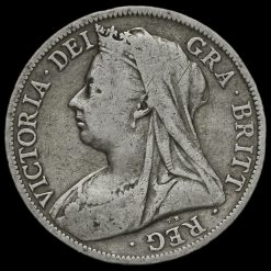1898 Queen Victoria Veiled Head Silver Half Crown Obverse