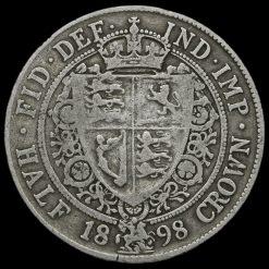 1898 Queen Victoria Veiled Head Silver Half Crown Reverse