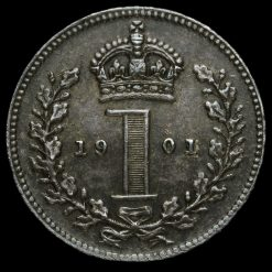 1901 Queen Victoria Veiled Head Silver Maundy Penny Reverse