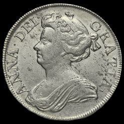 1712 Queen Anne Early Milled Silver Half Crown Obverse