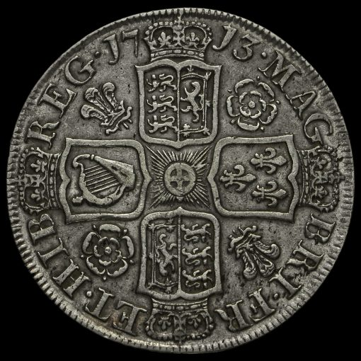 1713 Queen Anne Early Milled Silver Half Crown Reverse