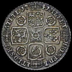 1741 George II Early Milled Silver Shilling Reverse
