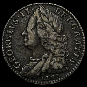 1746 George II Early Milled Silver Lima Sixpence Obverse