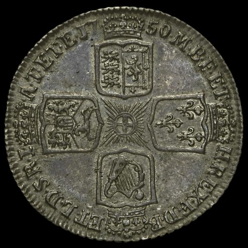 1750 George II Early Milled Silver Shilling Reverse