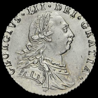 1787 George III Early Milled Silver Sixpence Obverse