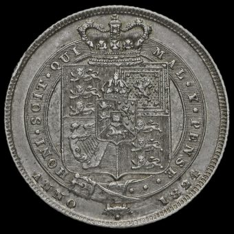 1824 George IV Milled Silver Shilling Reverse