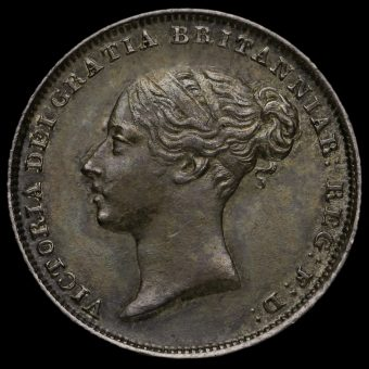 1839 Queen Victoria Young Head Silver Sixpence Obverse